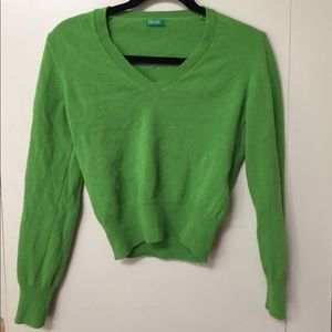 Benetton Small Crop Italy Green Wool Sweater